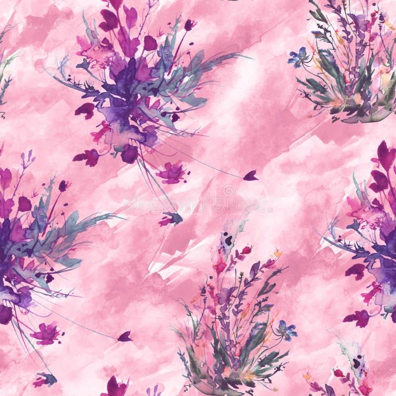 Teste padr?o sem emenda do vintage da aquarela, teste padr?o floral, rosa, rosas, papoila, bot?es Plantas, flores, grama na grama ilustração do vetor