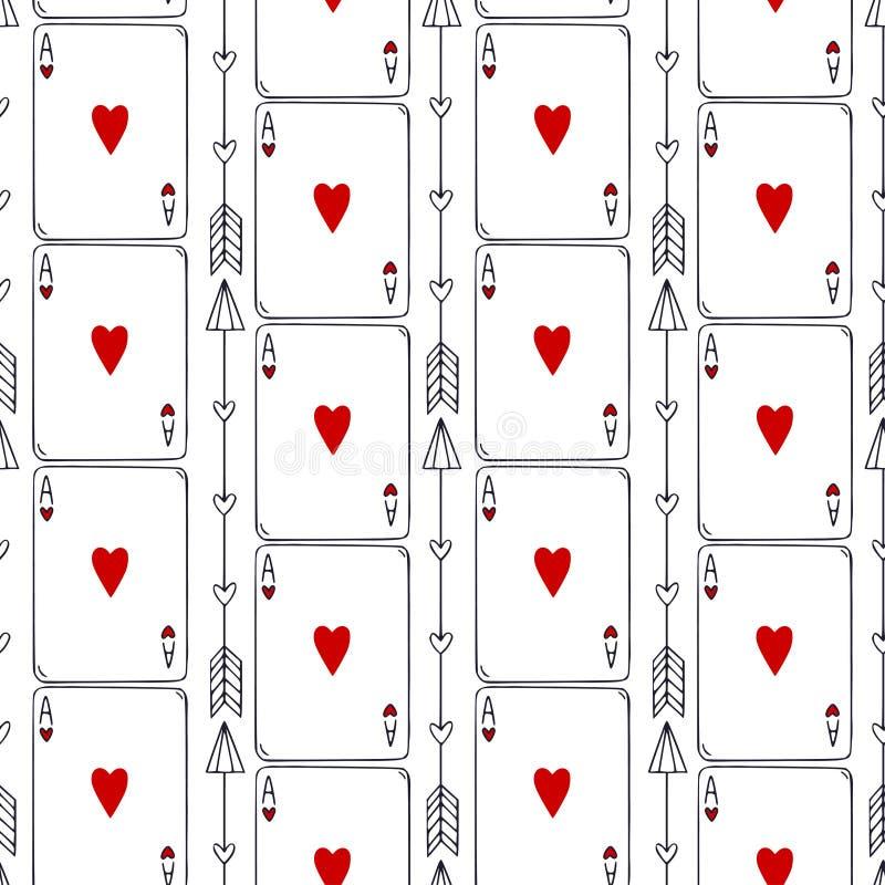 Teste padr?o sem emenda dos cart?es de jogo Ace do fundo dos corações Cartões que repetem o teste padrão Clube do jogo dos cartõe ilustração do vetor