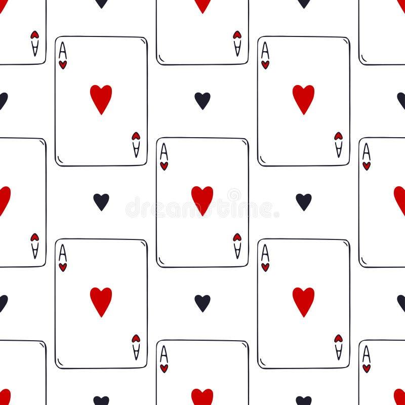 Teste padr?o sem emenda dos cart?es de jogo Ace do fundo do vetor dos corações Teste padrão do jogo de cartas Decoração de jogo d ilustração royalty free