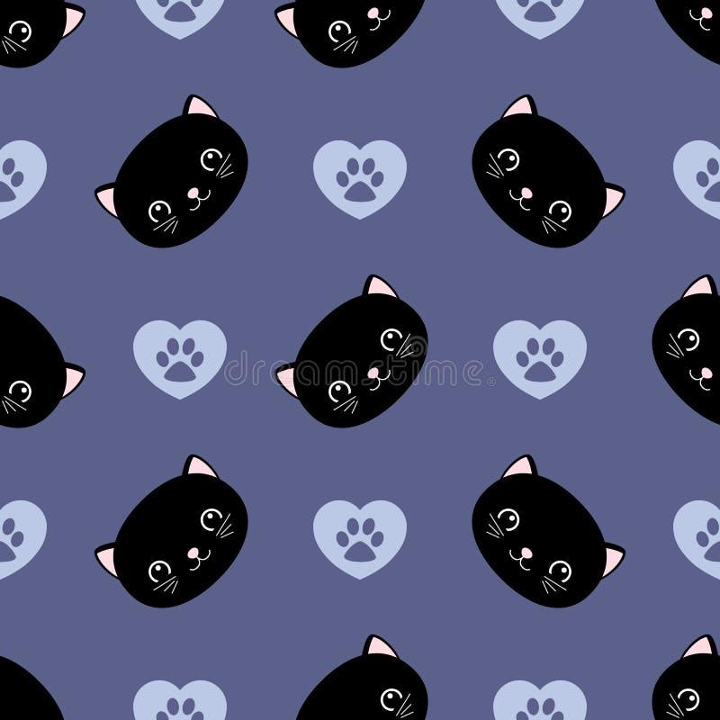 Teste padr?o sem emenda dos gatos bonitos, gatinhos pequenos, textura para pap?is de parede, tela, envolt?rio, fundos do p?gina d ilustração do vetor