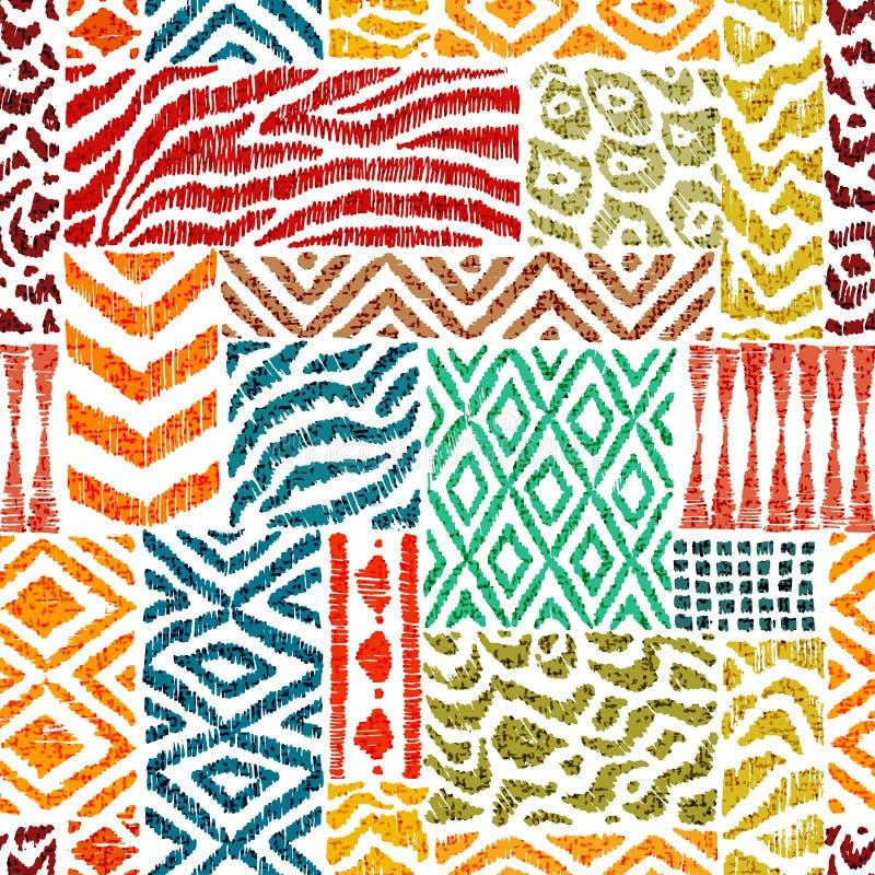 Teste padr?o sem emenda dos retalhos Uma coleção de texturas desenhados à mão Cópia animal para matérias têxteis Motivos ?tnicos  ilustração stock