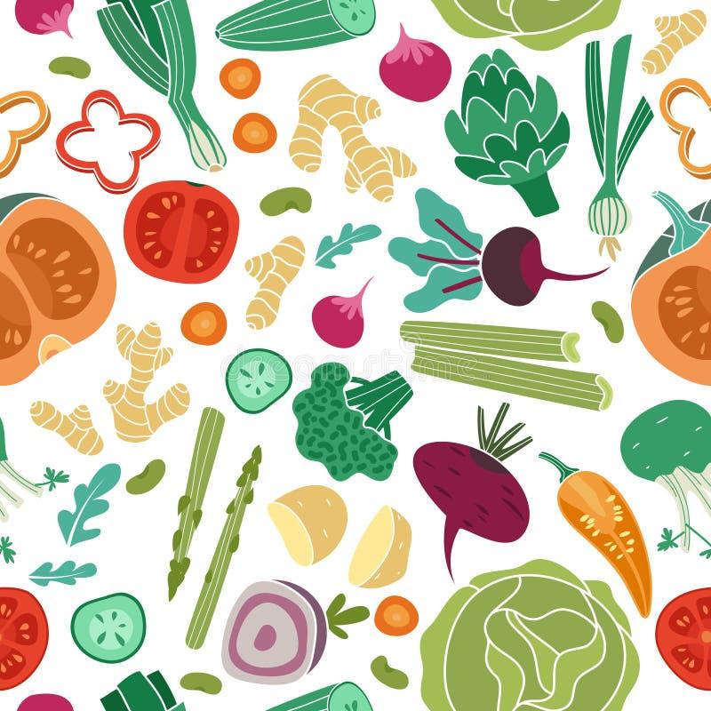 Teste padr?o sem emenda dos vegetais Do alimento biol?gico saud?vel da refei??o do vegetariano textura abstrata deliciosa do veto ilustração do vetor