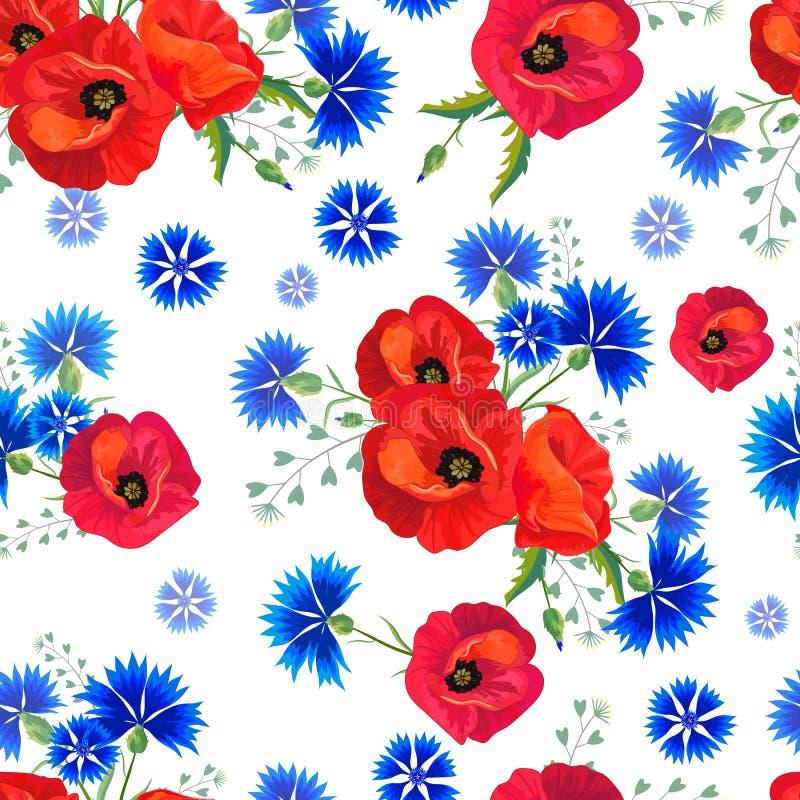 Teste padr?o sem emenda floral abstrato com papoilas vermelhas e cent?ureas azuis ilustração royalty free