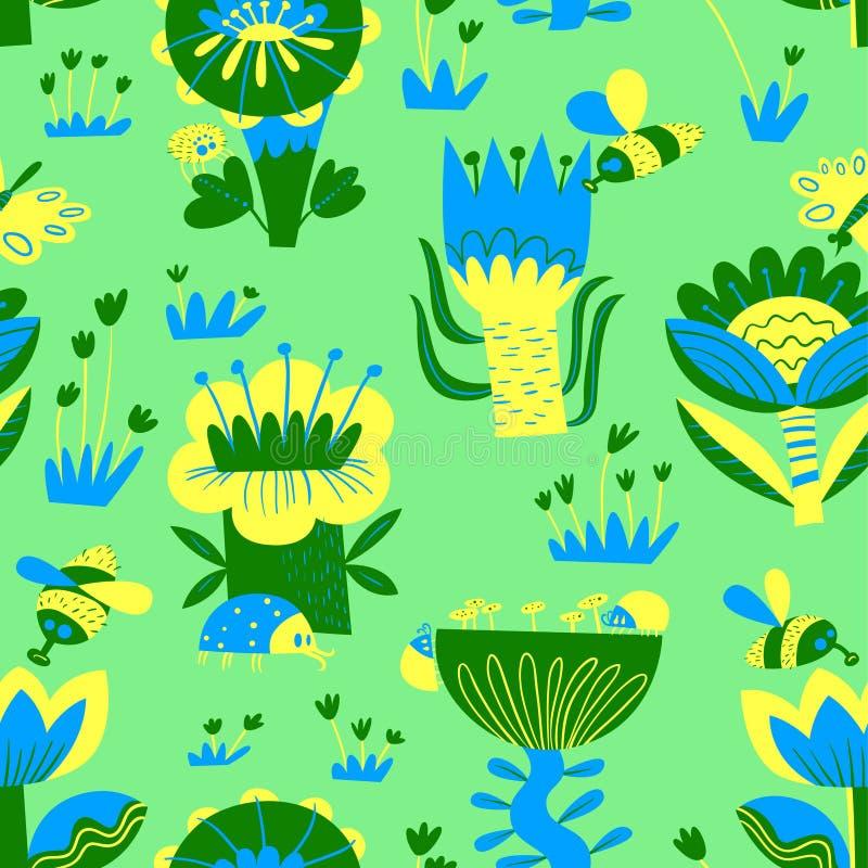 Teste padr?o sem emenda floral com insetos Fundo de flores e das folhas abstratas, borboleta, erro, abelha ilustração stock