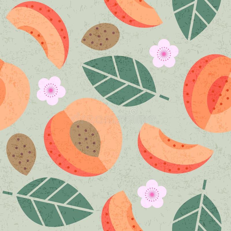 Teste padr?o sem emenda Folhas e flores suculentas dos frutos do abricó maduro no fundo gasto foto de stock