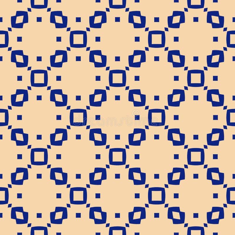 Teste padr?o sem emenda geom?trico abstrato do vetor Escuro simples - textura azul e amarela ilustração do vetor