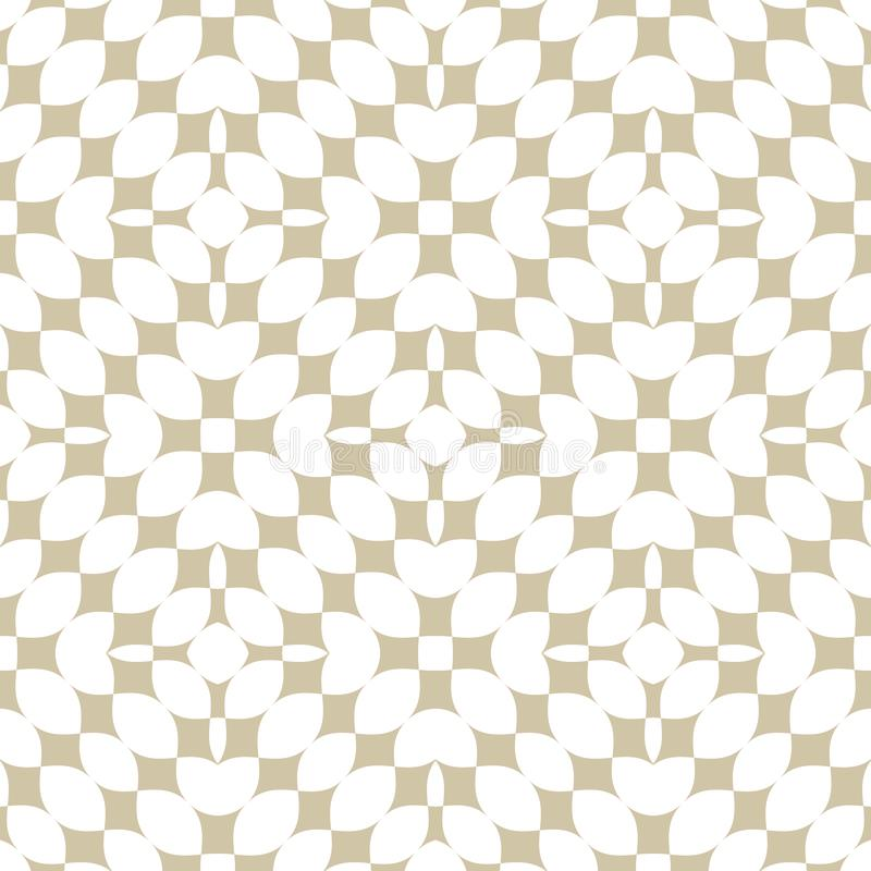 Teste padr?o sem emenda geom?trico abstrato dourado Branco do vetor e ornamento do ouro ilustração stock
