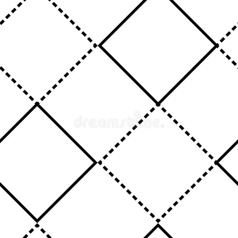 Teste padr?o sem emenda geom?trico com quadrados Linhas finas e tracejadas Ilustra??o do vetor ilustração stock