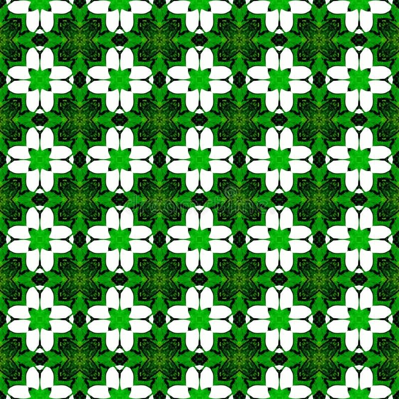Teste padr?o sem emenda geom?trico verde alaranjado Tra??o da m?o ilustração royalty free