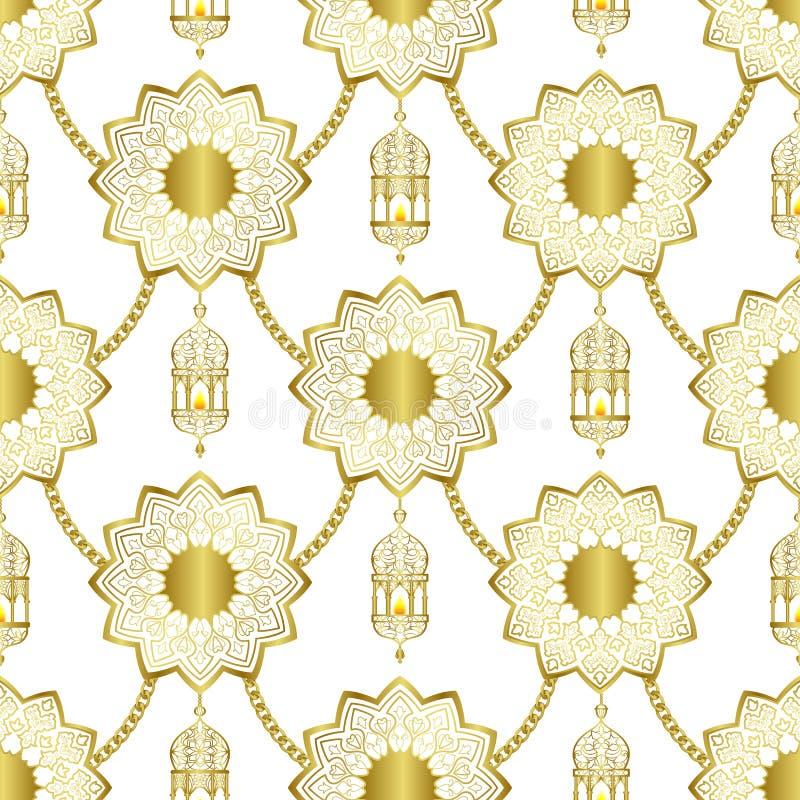 Teste padr?o sem emenda luxuoso dourado ?rabe no fundo branco ilustração royalty free