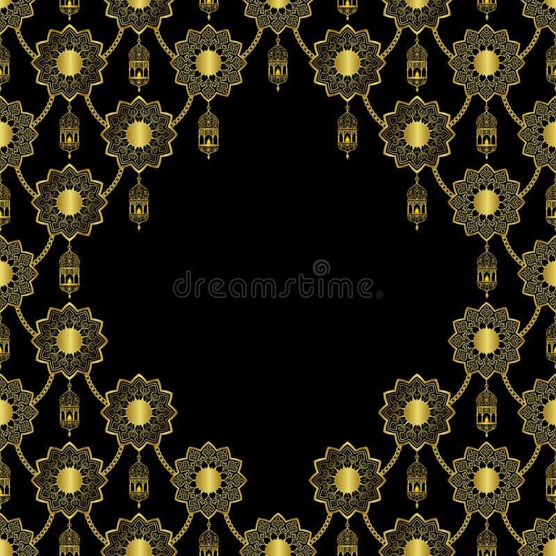 Teste padr?o sem emenda luxuoso dourado ?rabe no fundo preto ilustração do vetor