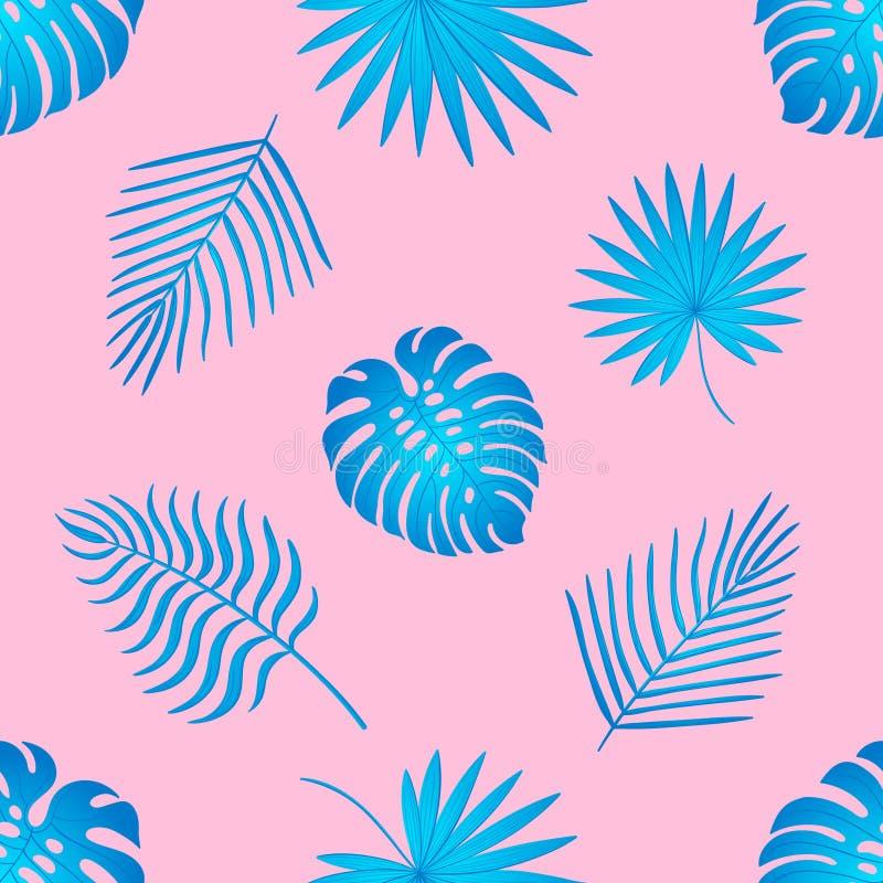 Teste padr?o sem emenda na moda com folhas tropicais ilustração stock