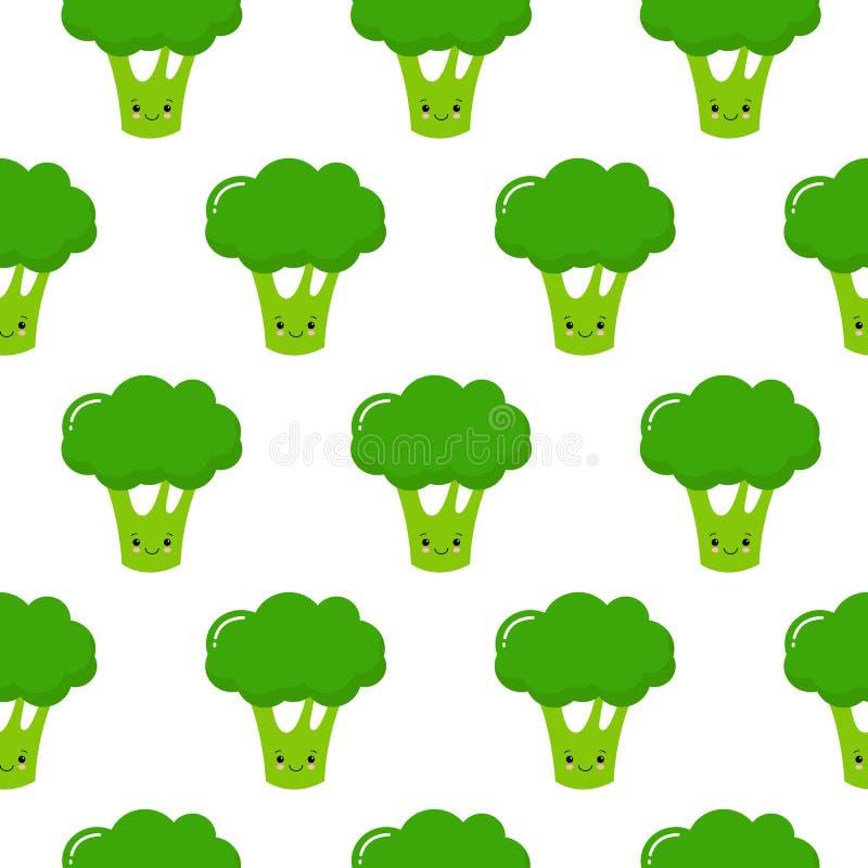 Teste padr?o sem emenda no fundo branco de br?colis bonitos do verde dos desenhos animados no estilo do kawaii ilustração stock