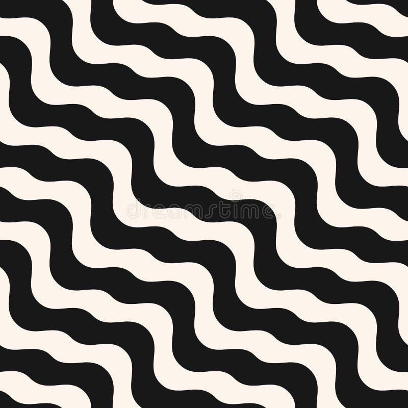 Teste padr?o sem emenda ondulado do sum?rio do vetor fundo preto e branco das ondas ilustração stock