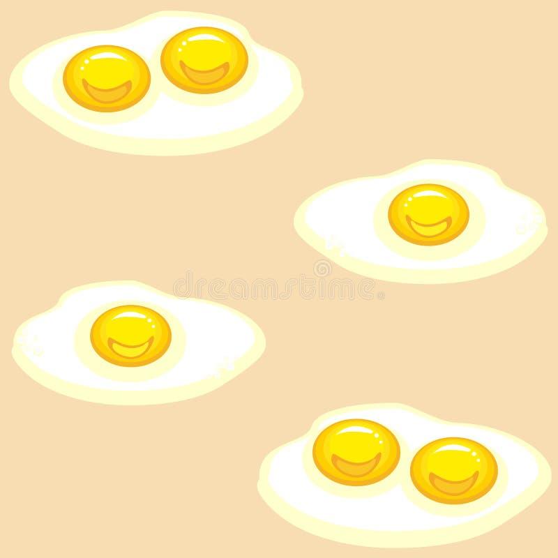 Teste padr?o sem emenda Ovos fritos apetitosos em um fundo bege Delicioso e fast food Apropriado como o papel de parede na cozinh ilustração stock