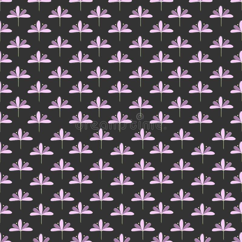 Teste padr?o sem emenda: Repetindo o und Violet Blooms de Lila no fundo escuro ilustração stock