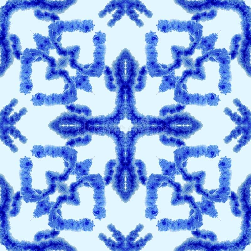 Teste padr?o sem emenda ?tnico Ornamento ?tnico do boho O laço abstrato do batik tingiu a tela, tingidura de Shibori Repetindo o  ilustração royalty free
