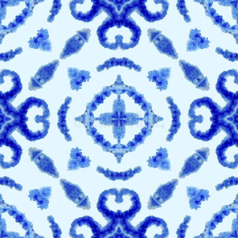 Teste padr?o sem emenda ?tnico Ornamento ?tnico do boho O laço abstrato do batik tingiu a tela, tingidura de Shibori Repetindo o  ilustração do vetor