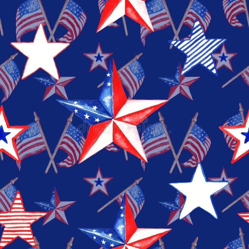Teste padr?o sem emenda vermelho, branco e azul decorativo patri?tico com bandeiras e estrelas dos E.U. no fundo dos azuis marinh ilustração stock