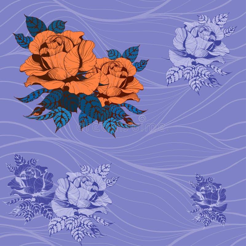 Teste padr?o sem emenda Vetor Um ramo das rosas com folhas, flores e bot?es ilustração stock