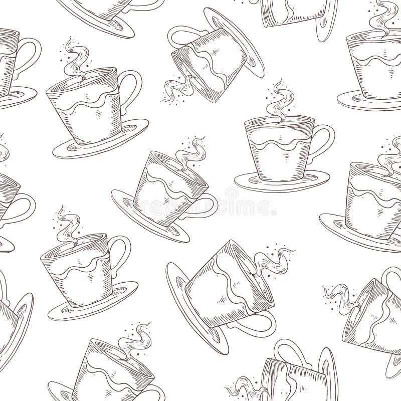 Teste padr?o tirado m?o do caf? Cópia sem emenda bonito com as canecas do café ou do chá, esboço da bebida da manhã C?pia do vint ilustração royalty free