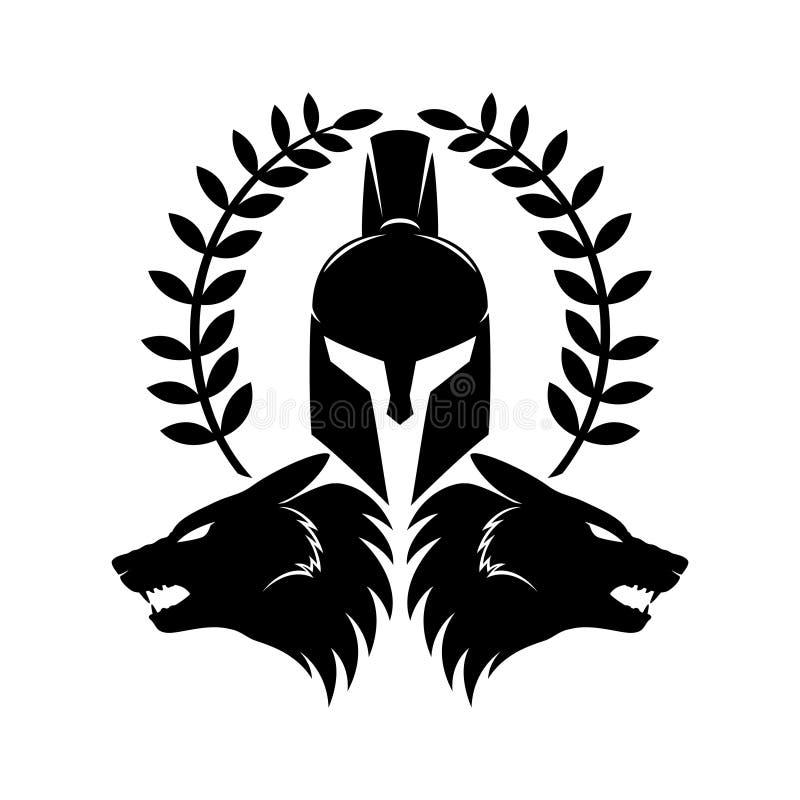 Teste spartane del lupo e del casco illustrazione di stock