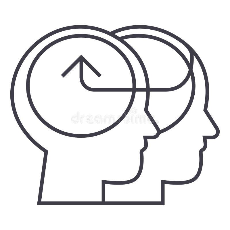 Teste umane cooperative, linea collettiva icona, segno, illustrazione di vettore di decisione su fondo, colpi editabili royalty illustrazione gratis