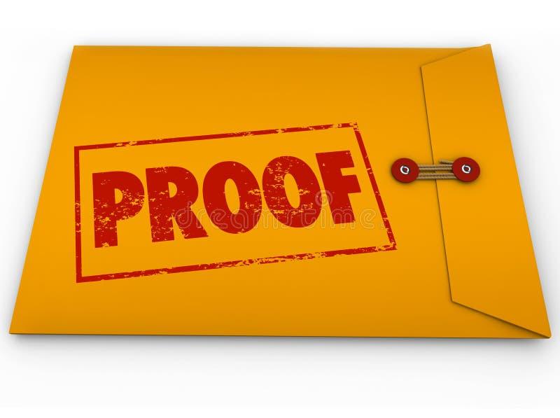Testemunho da evidência da verificação do envelope do amarelo da palavra da prova ilustração do vetor