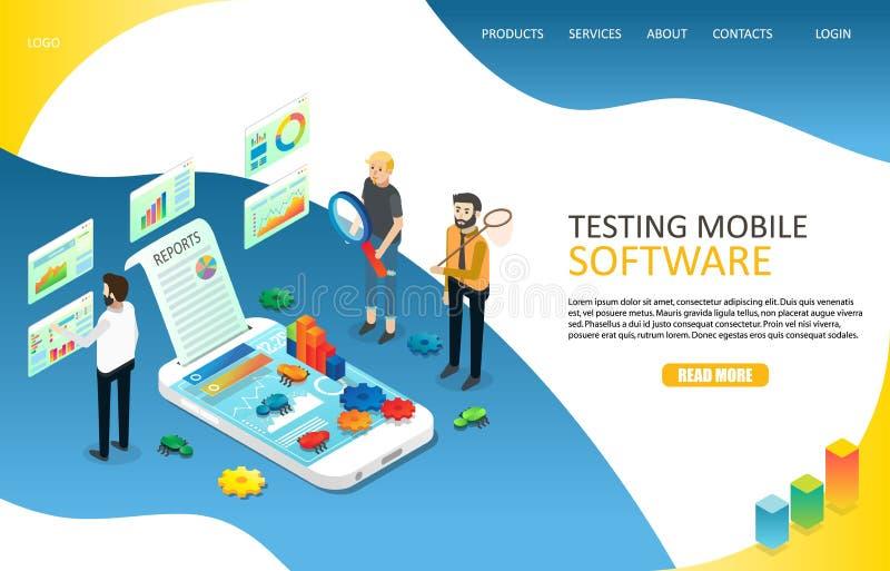 Testend mobiel de website vectormalplaatje van de software landend pagina royalty-vrije illustratie
