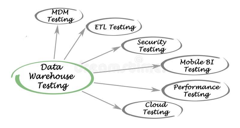 Testes do armazém de dados ilustração do vetor