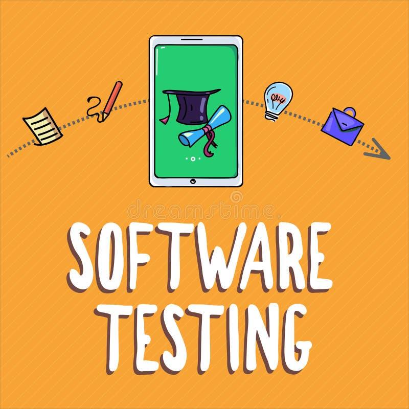 Testes do software da escrita do texto da escrita A investigação do significado do conceito fornece a informação sobre a qualidad ilustração stock