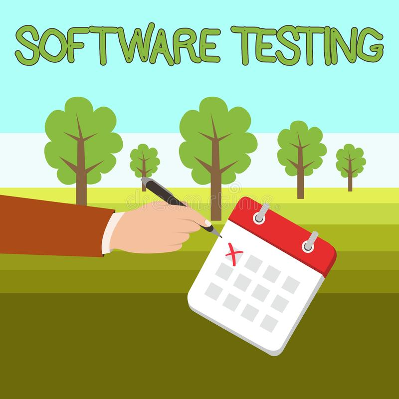 Testes do software do texto da escrita da palavra Conceito do negócio para a investigação para fornecer a informação sobre a qual ilustração stock