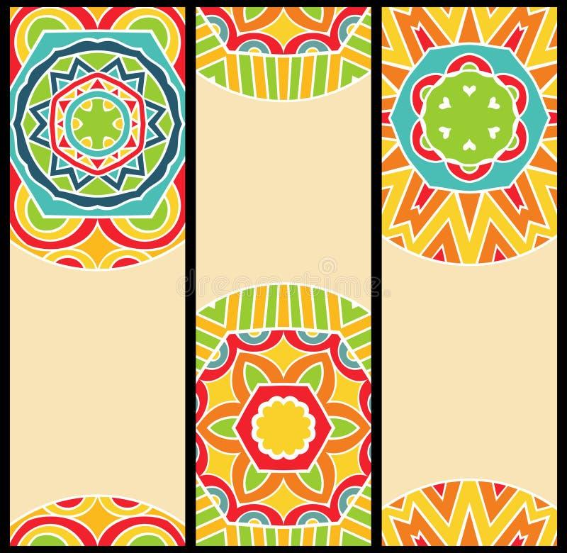 Testes padrões étnicos brilhantes no grupo de cartões ilustração royalty free