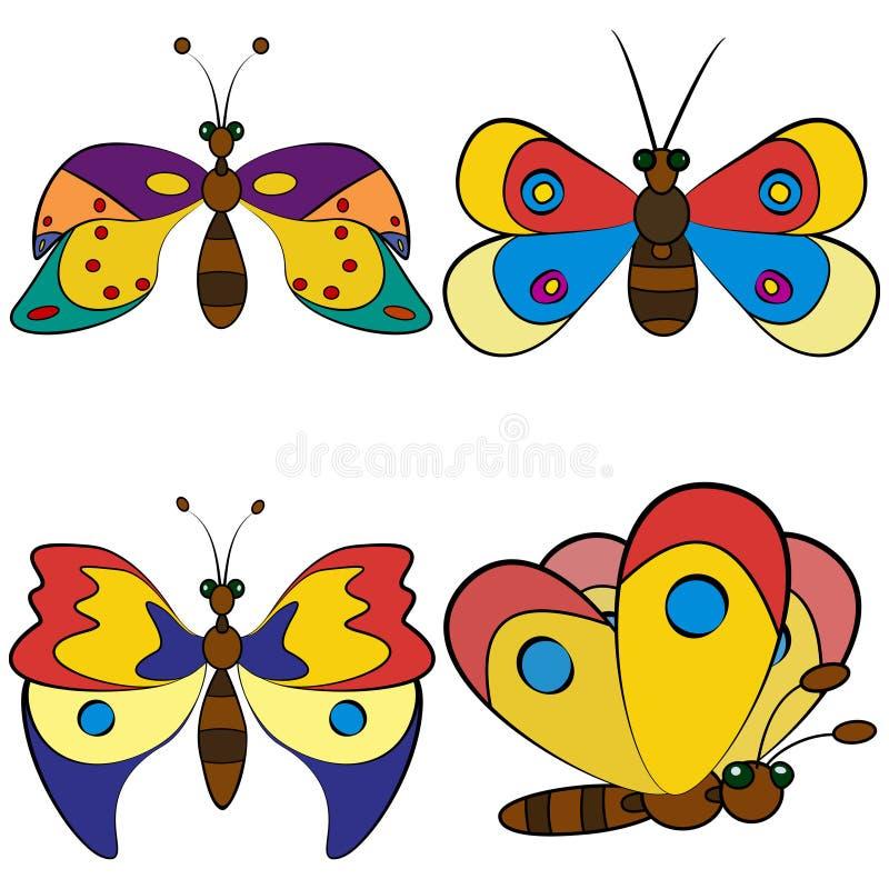 Testes padrões ajustados da borboleta ilustração do vetor