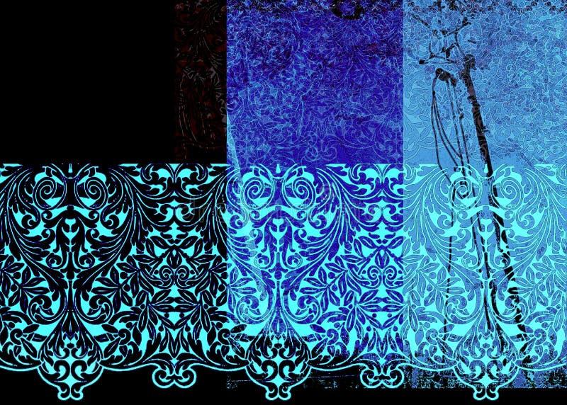 Testes padrões azuis abstratos ilustração stock