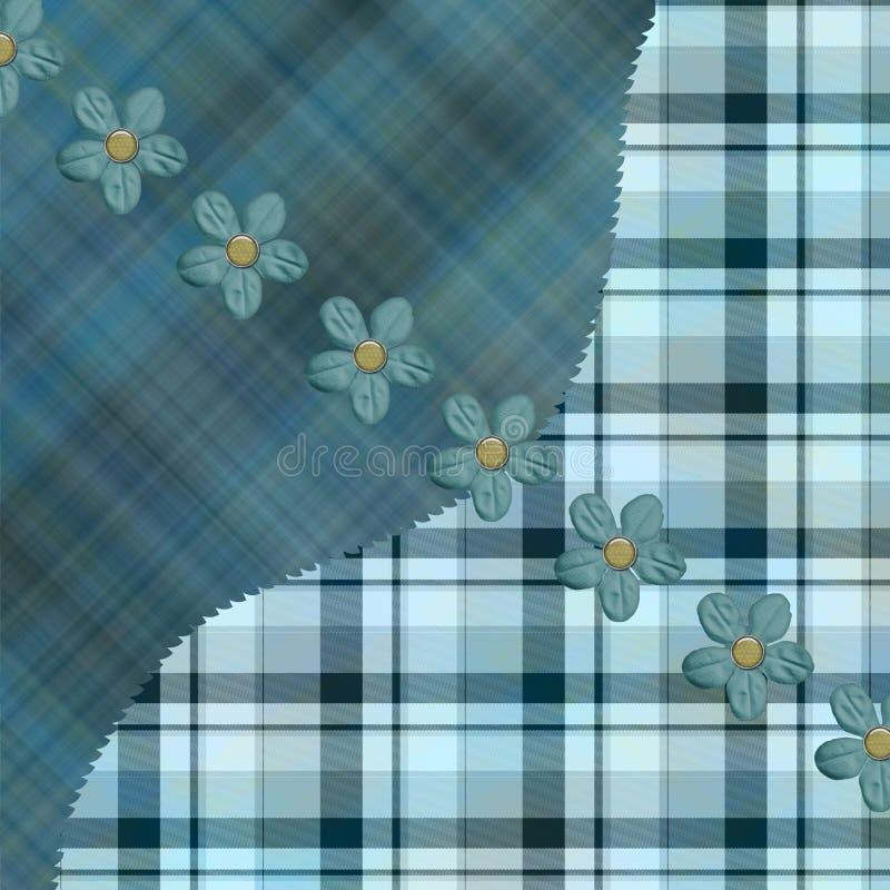 Testes padrões azuis da manta do caqui ilustração do vetor