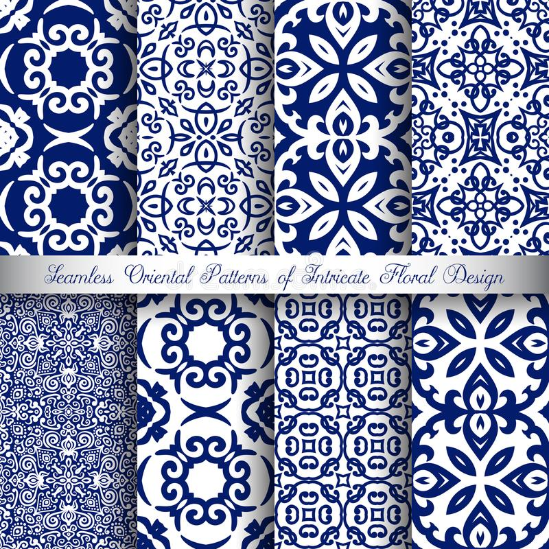 Testes padrões azuis do Arabesque ilustração do vetor