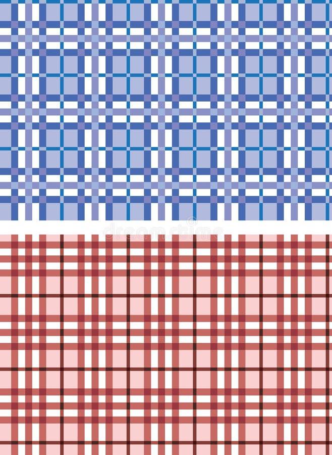 Testes padrões azuis e vermelhos da manta sem emenda ilustração stock
