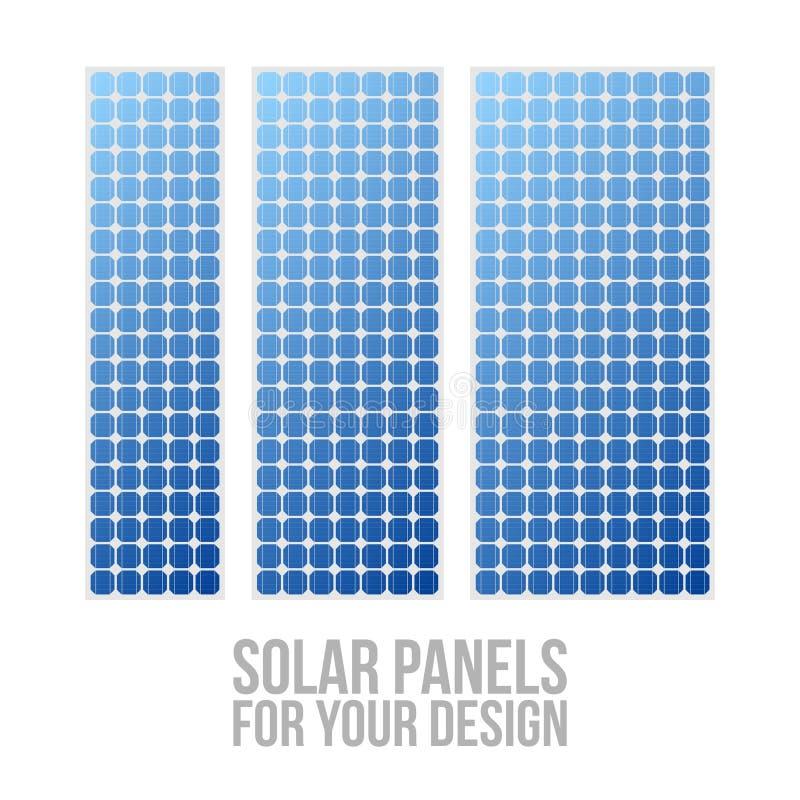 Testes padrões bondes fotovoltaicos do painel solar ajustados ilustração do vetor