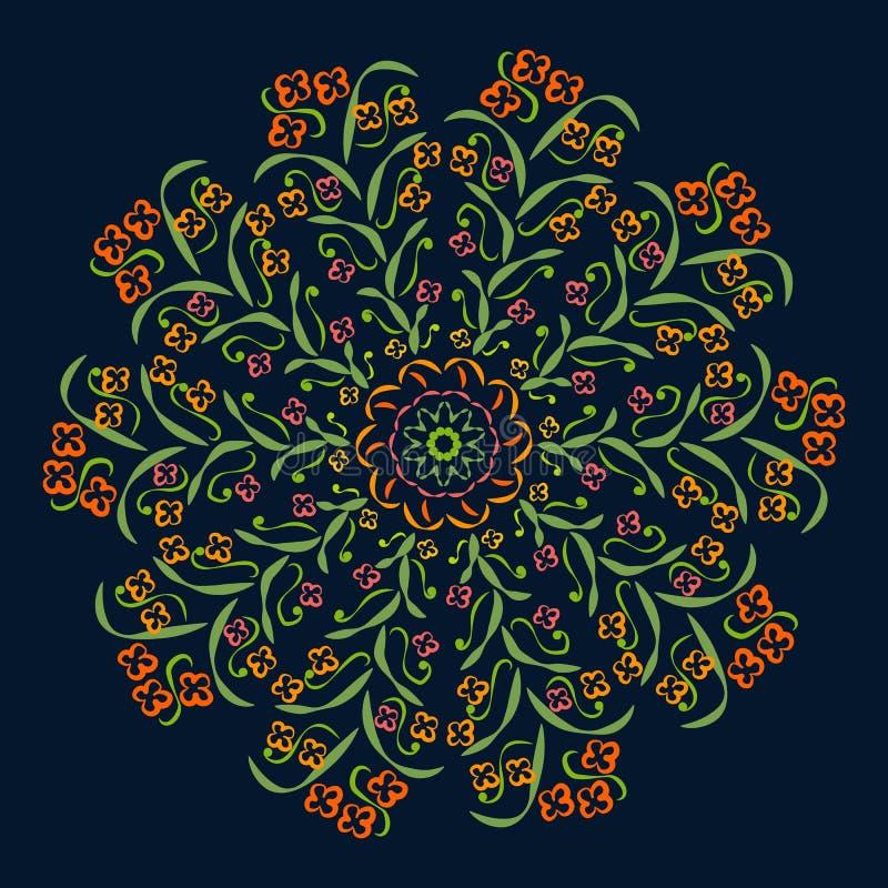 Testes padrões circulares abstratos verde, vermelho, roxo, amarelo no fundo escuro ilustração do vetor