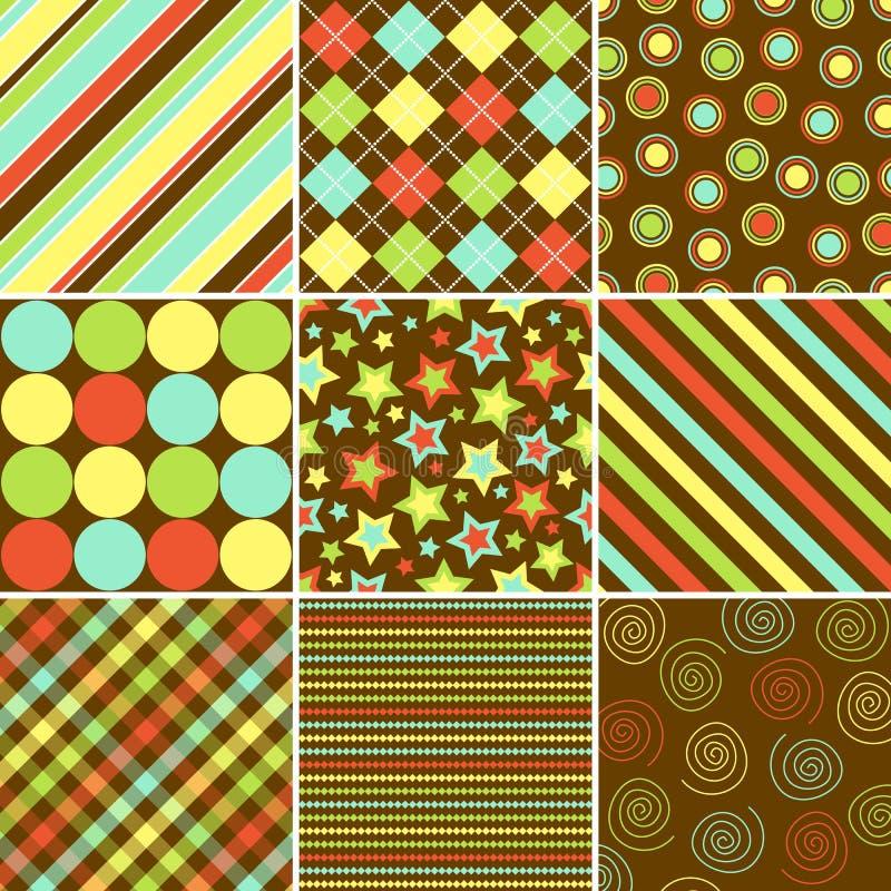 Testes padrões coloridos do fundo ilustração do vetor
