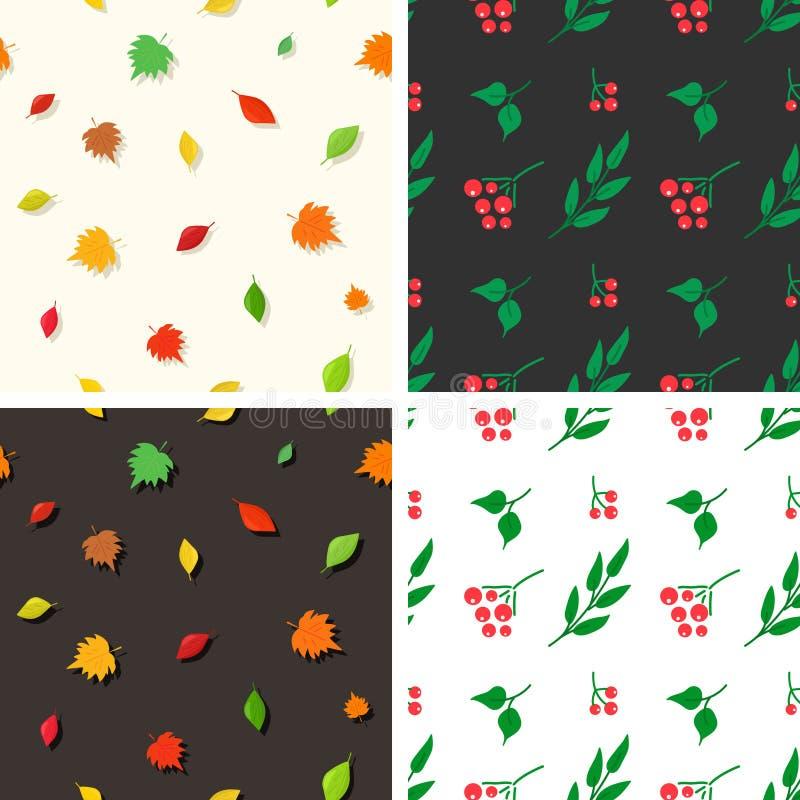 Testes padrões com folha e bagas ilustração do vetor