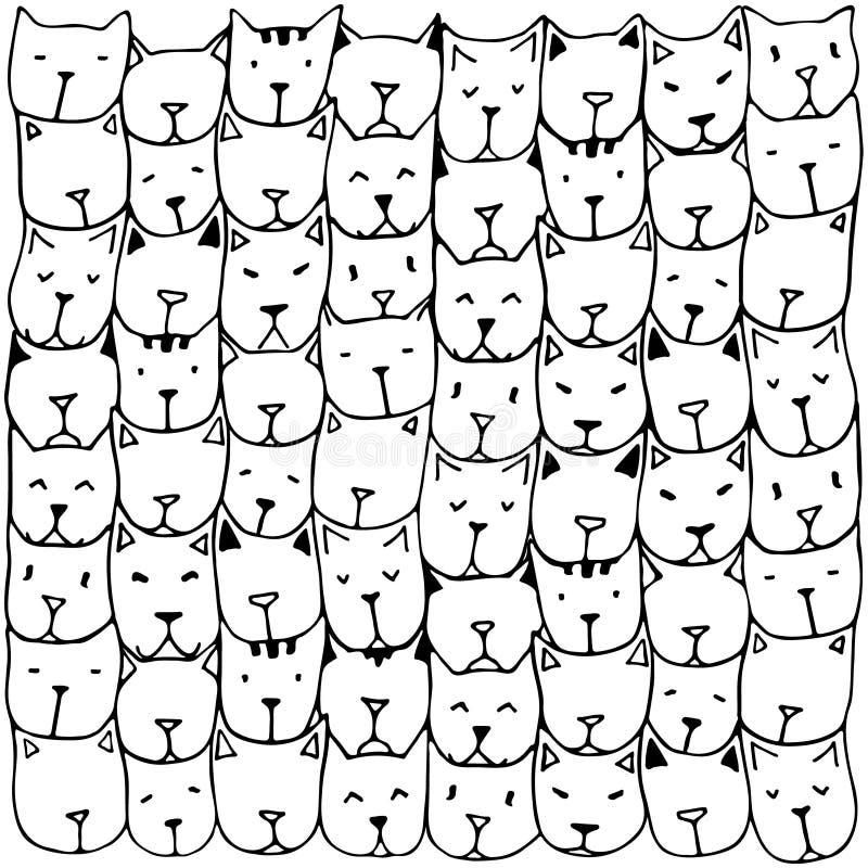 Testes padrões com mão bonito os gatos tirados ilustração stock