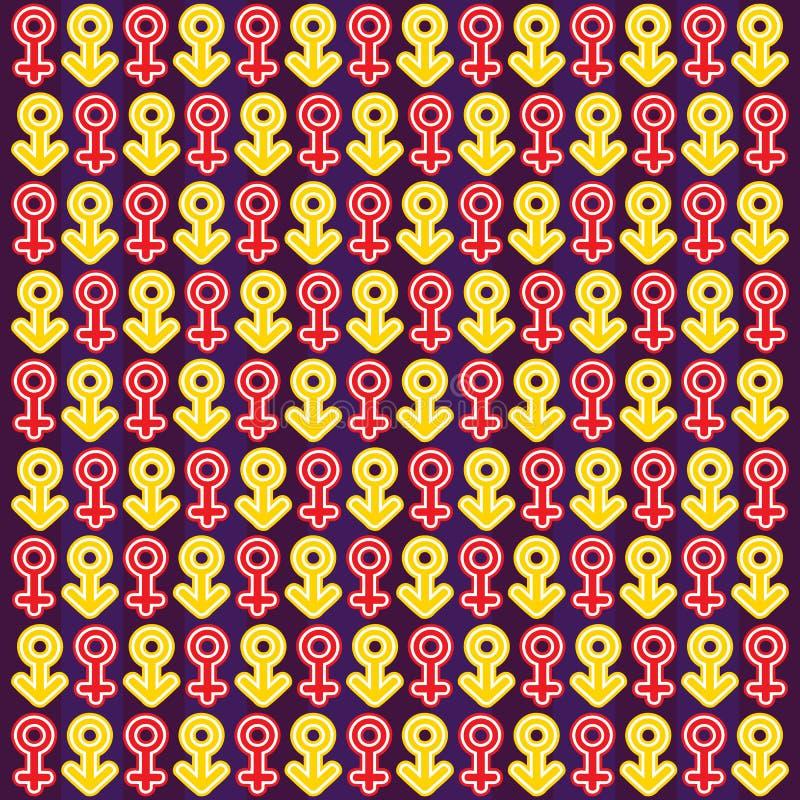 Testes padrões com símbolos de sexo ilustração royalty free