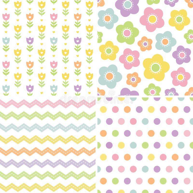 Testes padrões cor-de-rosa e amarelos sem emenda bonitos do fundo ilustração do vetor