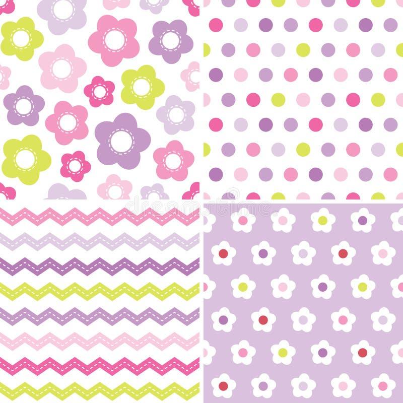 Testes padrões cor-de-rosa e roxos sem emenda bonitos do fundo ilustração stock