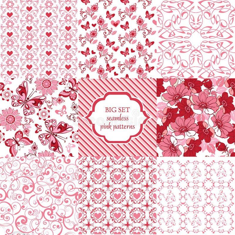 Testes padrões cor-de-rosa sem emenda do grupo grande Flores, corações, borboletas de ilustração royalty free