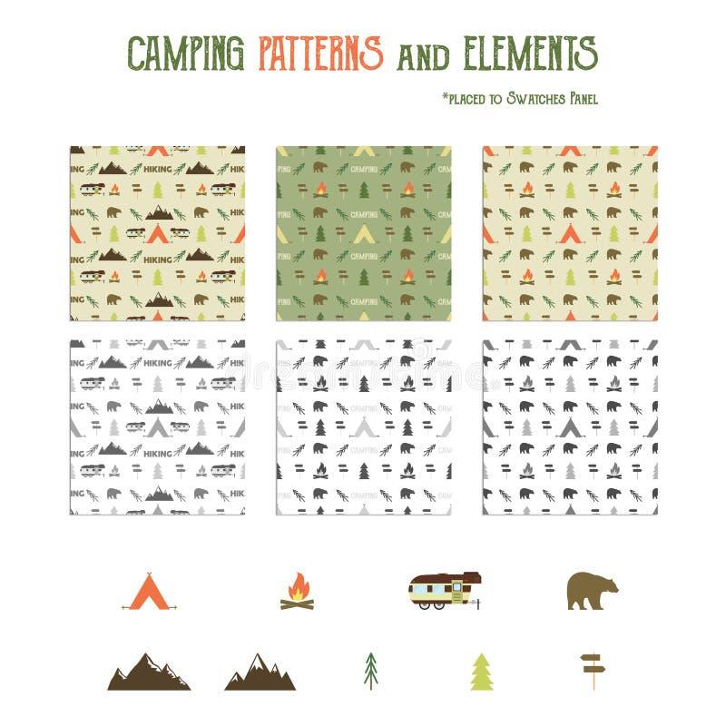 Testes padrões de acampamento e caminhada do grupo de elementos ilustração stock
