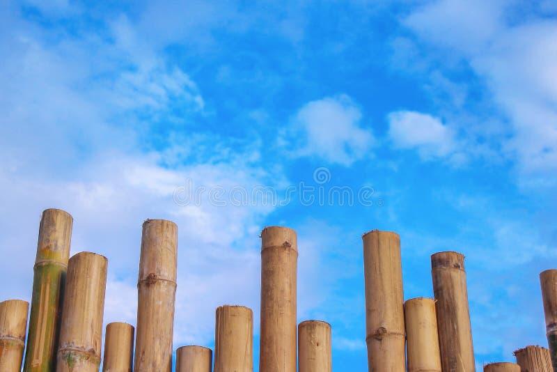 Testes padrões de bambu da cerca e céu azul vívido com fundo das nuvens foto de stock