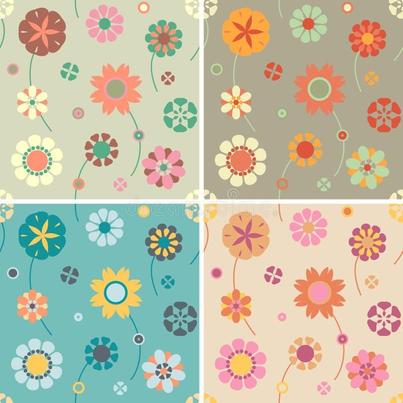 Testes padrões de flor ilustração do vetor